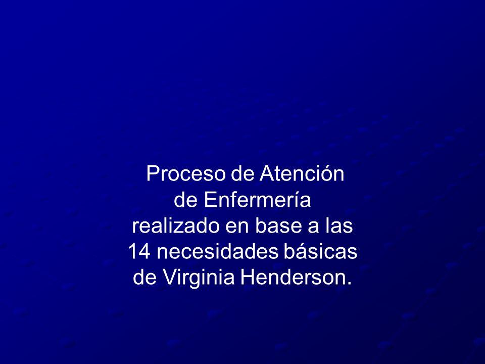 Proceso de Atención de Enfermería realizado en base a las 14 necesidades básicas de Virginia Henderson.