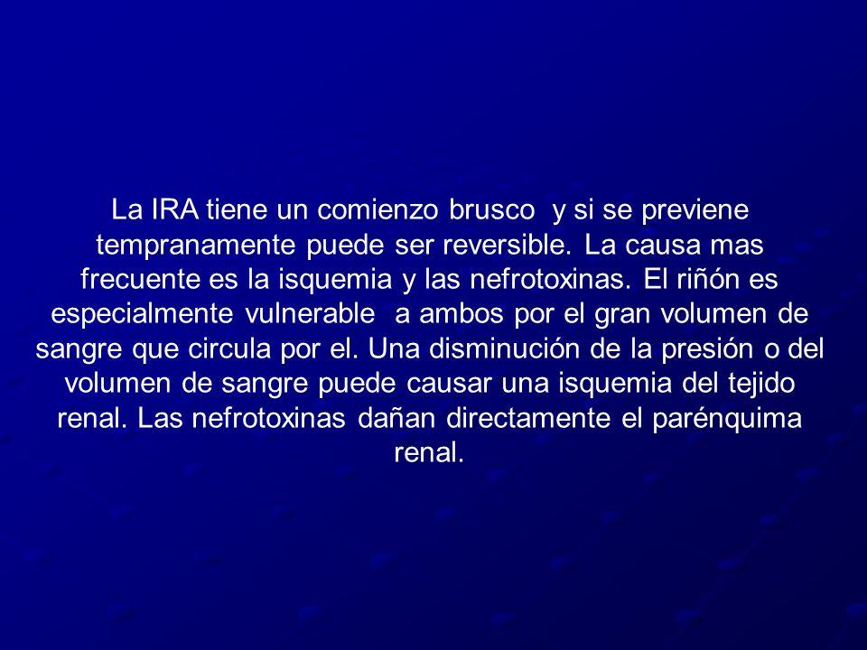 La IRA tiene un comienzo brusco y si se previene tempranamente puede ser reversible. La causa mas frecuente es la isquemia y las nefrotoxinas. El riñó