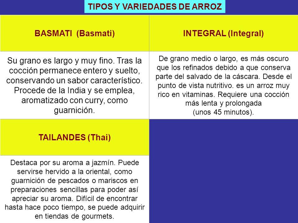 TIPOS Y VARIEDADES DE ARROZ BASMATI (Basmati)INTEGRAL (Integral) Su grano es largo y muy fino. Tras la cocción permanece entero y suelto, conservando
