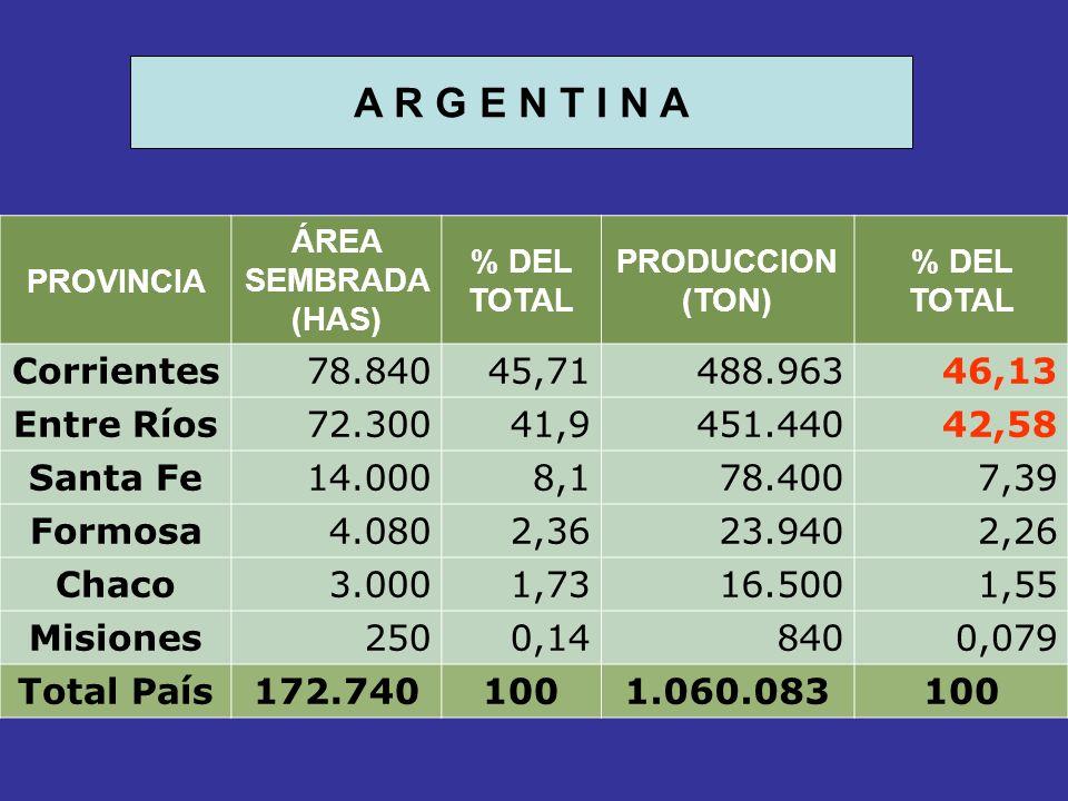 PROVINCIA ÁREA SEMBRADA (HAS) % DEL TOTAL PRODUCCION (TON) % DEL TOTAL Corrientes78.84045,71488.96346,13 Entre Ríos72.30041,9451.44042,58 Santa Fe14.0