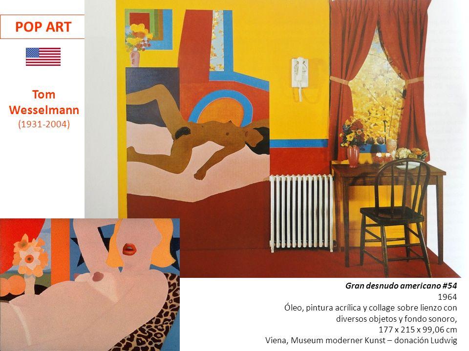 Gran desnudo americano #54 1964 Óleo, pintura acrílica y collage sobre lienzo con diversos objetos y fondo sonoro, 177 x 215 x 99,06 cm Viena, Museum