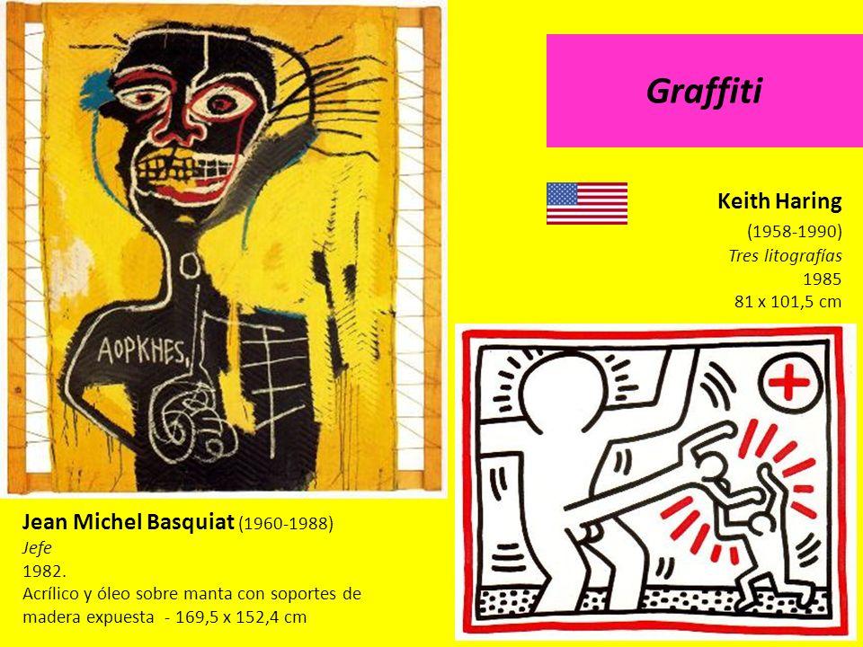 Jean Michel Basquiat (1960-1988) Jefe 1982. Acrílico y óleo sobre manta con soportes de madera expuesta - 169,5 x 152,4 cm Keith Haring (1958-1990) Tr