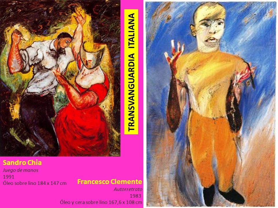 Francesco Clemente Autorretrato 1983 Óleo y cera sobre lino 167,6 x 108 cm Sandro Chia Juego de manos 1991 Óleo sobre lino 184 x 147 cm TRANSVANGUARDI