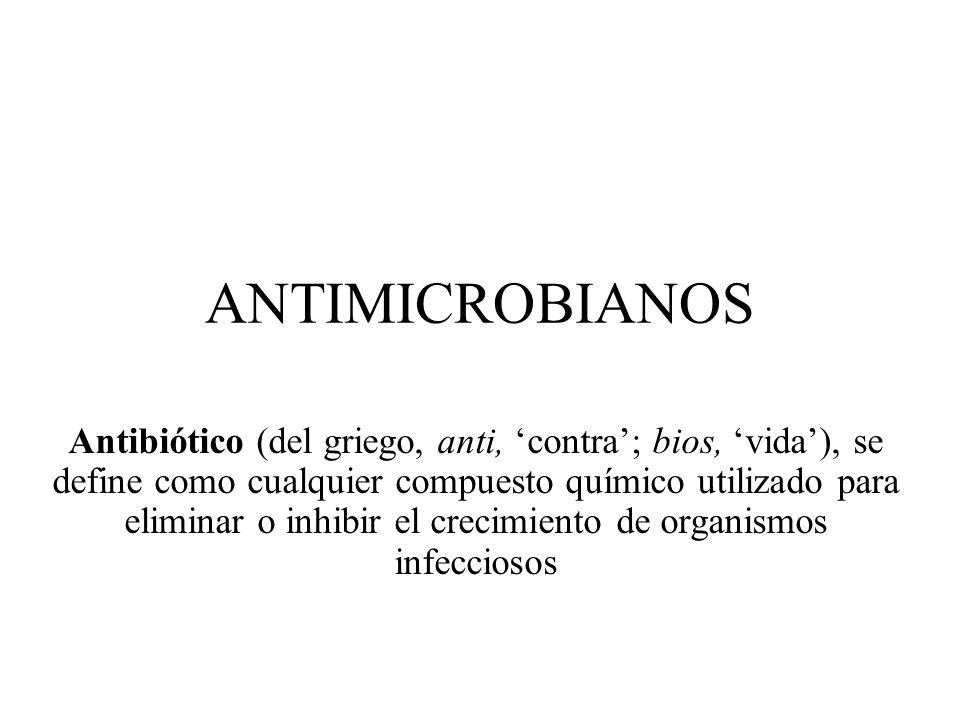 ANTIMICROBIANOS Antibiótico (del griego, anti, contra; bios, vida), se define como cualquier compuesto químico utilizado para eliminar o inhibir el cr