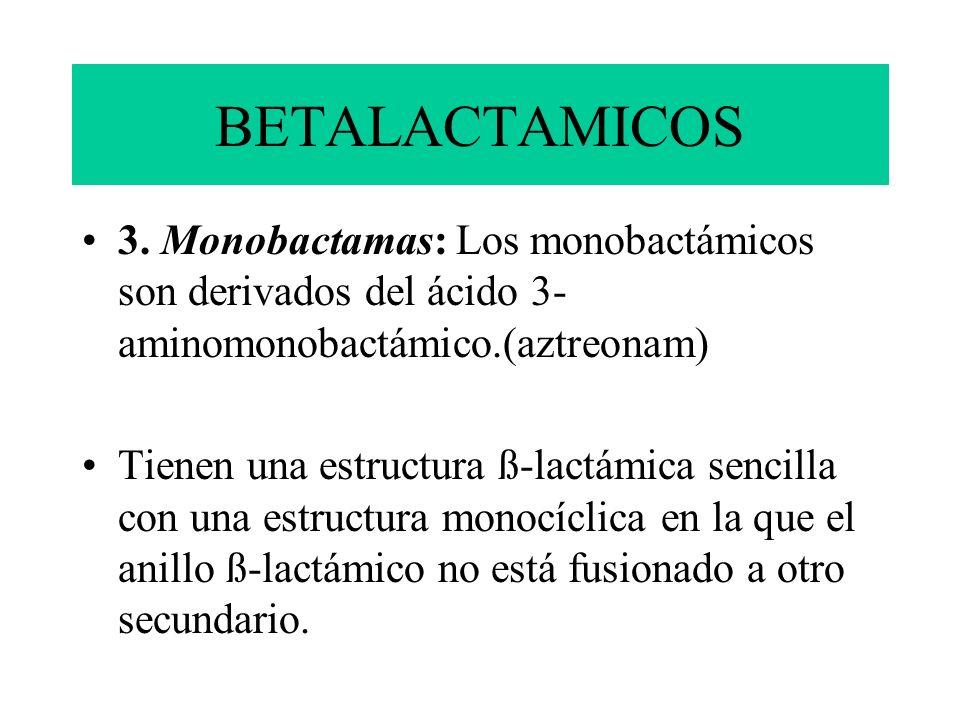 BETALACTAMICOS 3. Monobactamas: Los monobactámicos son derivados del ácido 3- aminomonobactámico.(aztreonam) Tienen una estructura ß-lactámica sencill