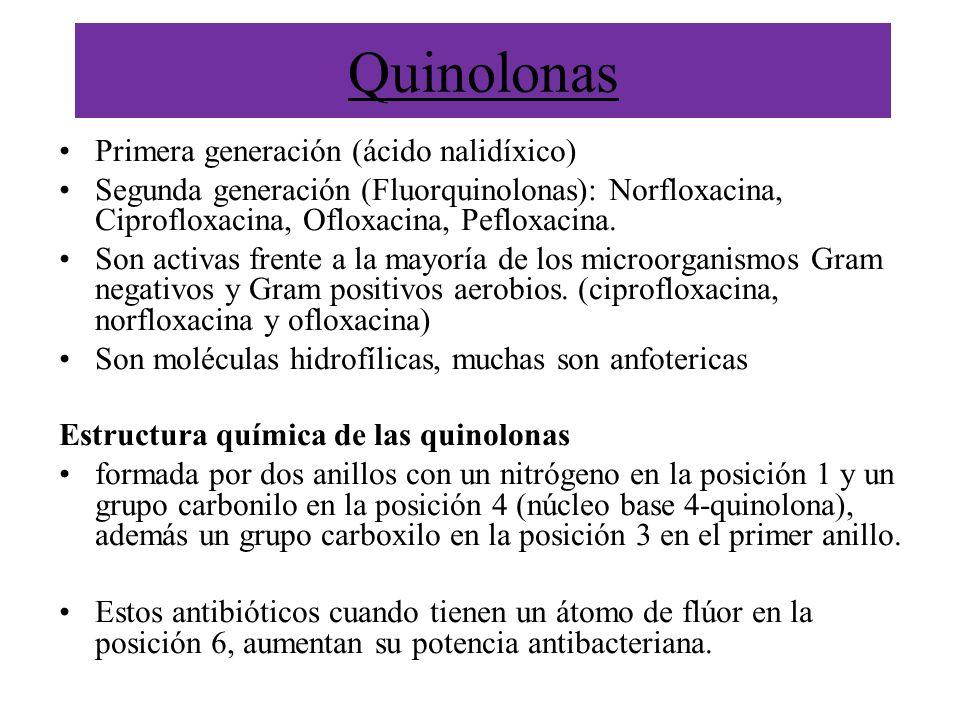 Quinolonas Primera generación (ácido nalidíxico) Segunda generación (Fluorquinolonas): Norfloxacina, Ciprofloxacina, Ofloxacina, Pefloxacina. Son acti