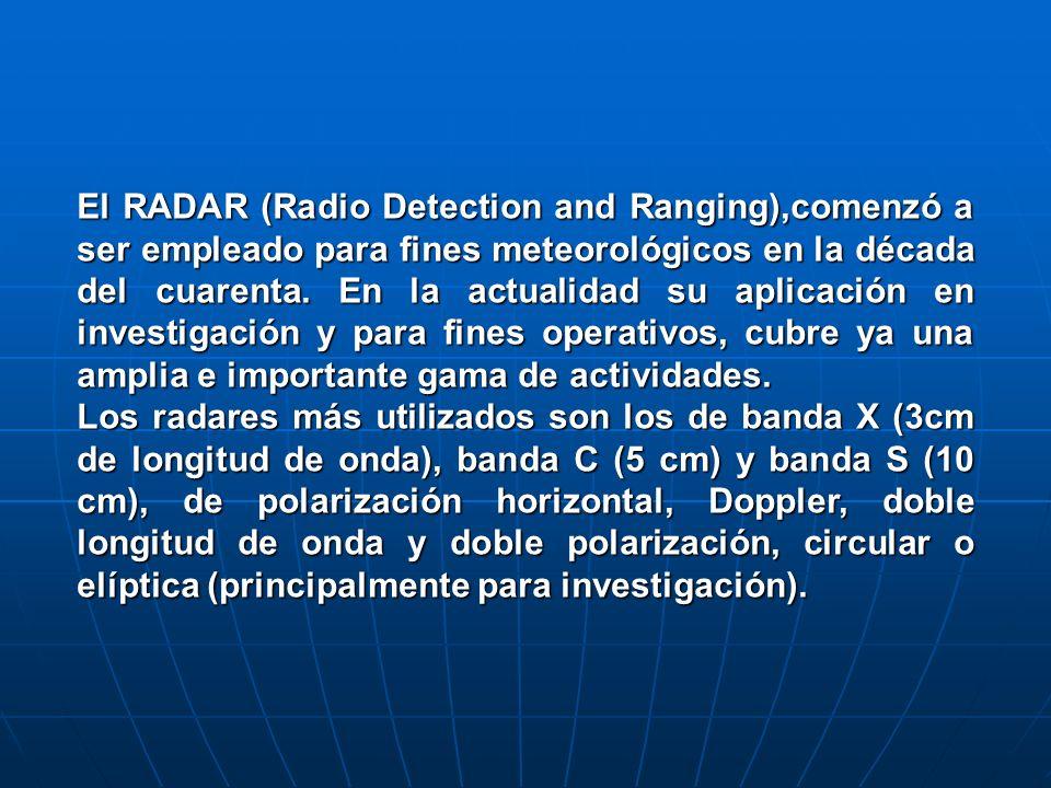 El RADAR (Radio Detection and Ranging),comenzó a ser empleado para fines meteorológicos en la década del cuarenta. En la actualidad su aplicación en i