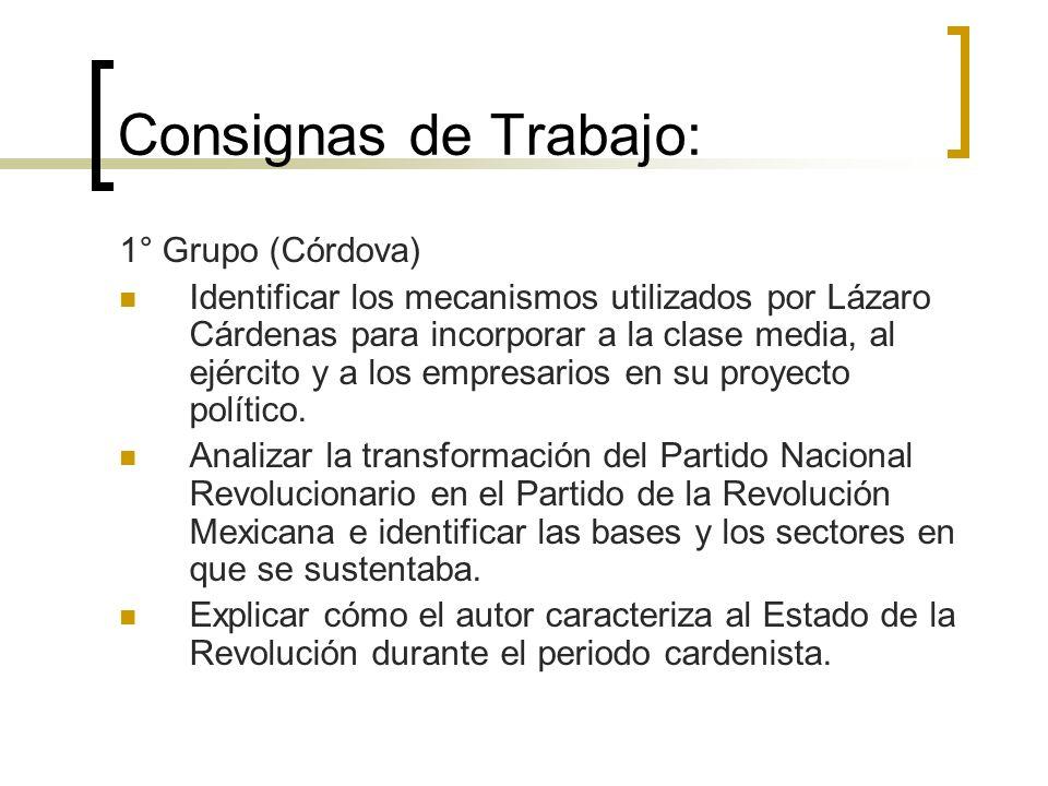 Consignas de Trabajo: 1° Grupo (Córdova) Identificar los mecanismos utilizados por Lázaro Cárdenas para incorporar a la clase media, al ejército y a l