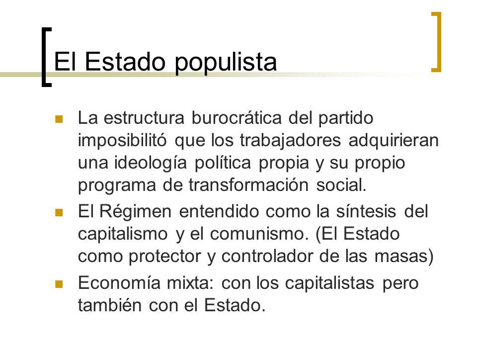 El Estado populista La estructura burocrática del partido imposibilitó que los trabajadores adquirieran una ideología política propia y su propio prog