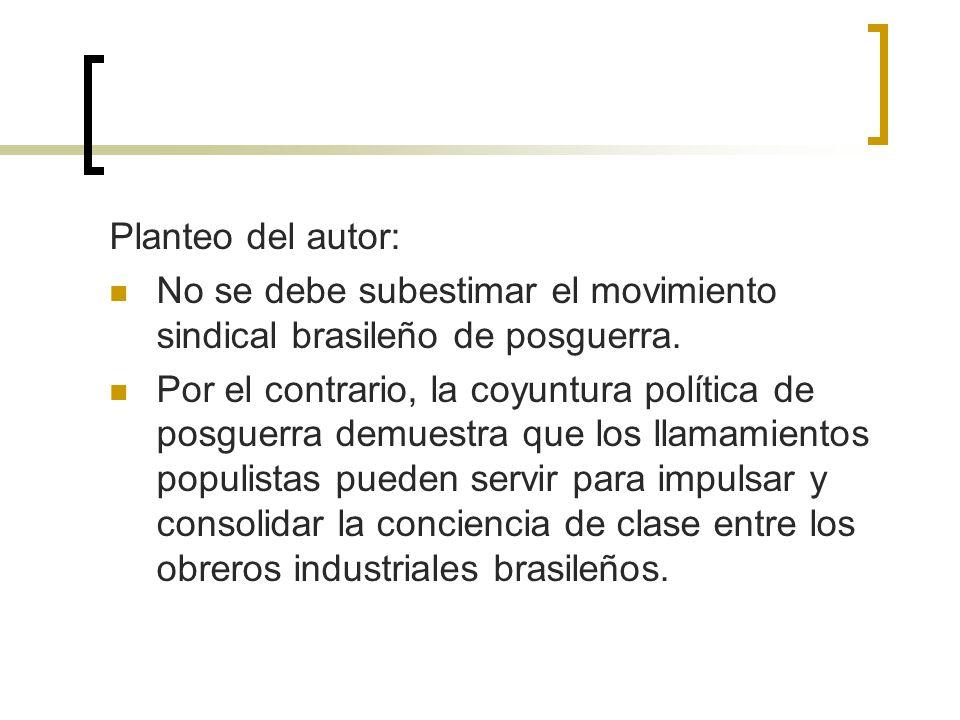 Planteo del autor: No se debe subestimar el movimiento sindical brasileño de posguerra. Por el contrario, la coyuntura política de posguerra demuestra