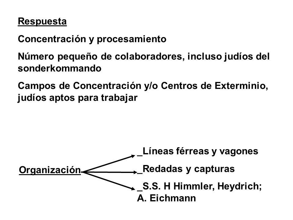 Organización Respuesta Concentración y procesamiento Número pequeño de colaboradores, incluso judíos del sonderkommando Campos de Concentración y/o Ce