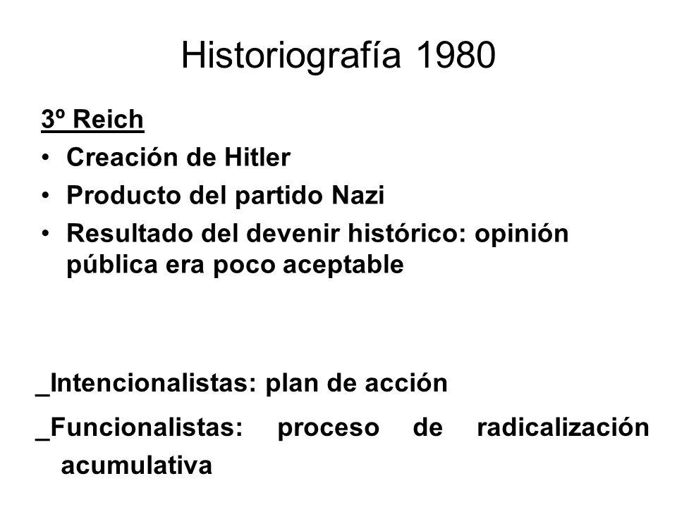 Historiografía 1980 3º Reich Creación de Hitler Producto del partido Nazi Resultado del devenir histórico: opinión pública era poco aceptable _Intenci