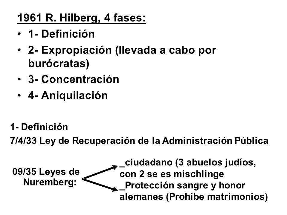 1961 R. Hilberg, 4 fases: 1- Definición 2- Expropiación (llevada a cabo por burócratas) 3- Concentración 4- Aniquilación 1- Definición 7/4/33 Ley de R