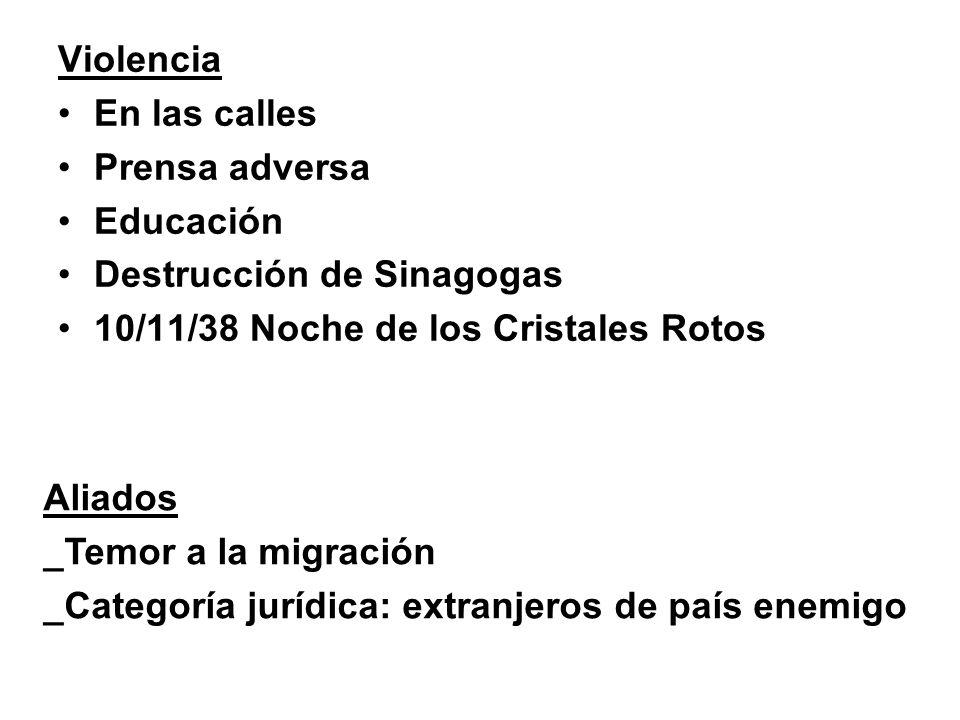 Violencia En las calles Prensa adversa Educación Destrucción de Sinagogas 10/11/38 Noche de los Cristales Rotos Aliados _Temor a la migración _Categor