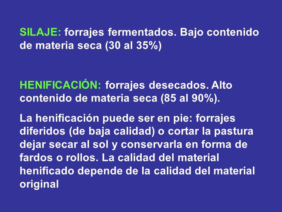 SILAJE: forrajes fermentados. Bajo contenido de materia seca (30 al 35%) HENIFICACIÓN: forrajes desecados. Alto contenido de materia seca (85 al 90%).