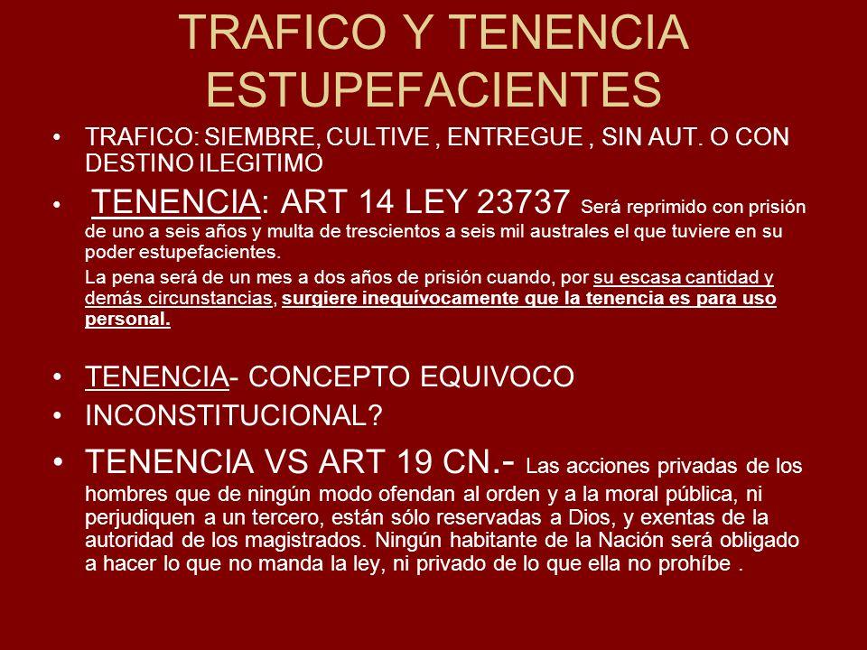 TRAFICO Y TENENCIA ESTUPEFACIENTES TRAFICO: SIEMBRE, CULTIVE, ENTREGUE, SIN AUT.