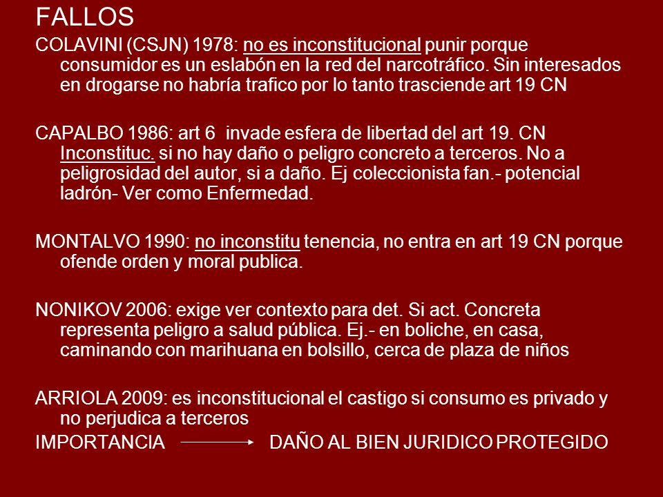 FALLOS COLAVINI (CSJN) 1978: no es inconstitucional punir porque consumidor es un eslabón en la red del narcotráfico.