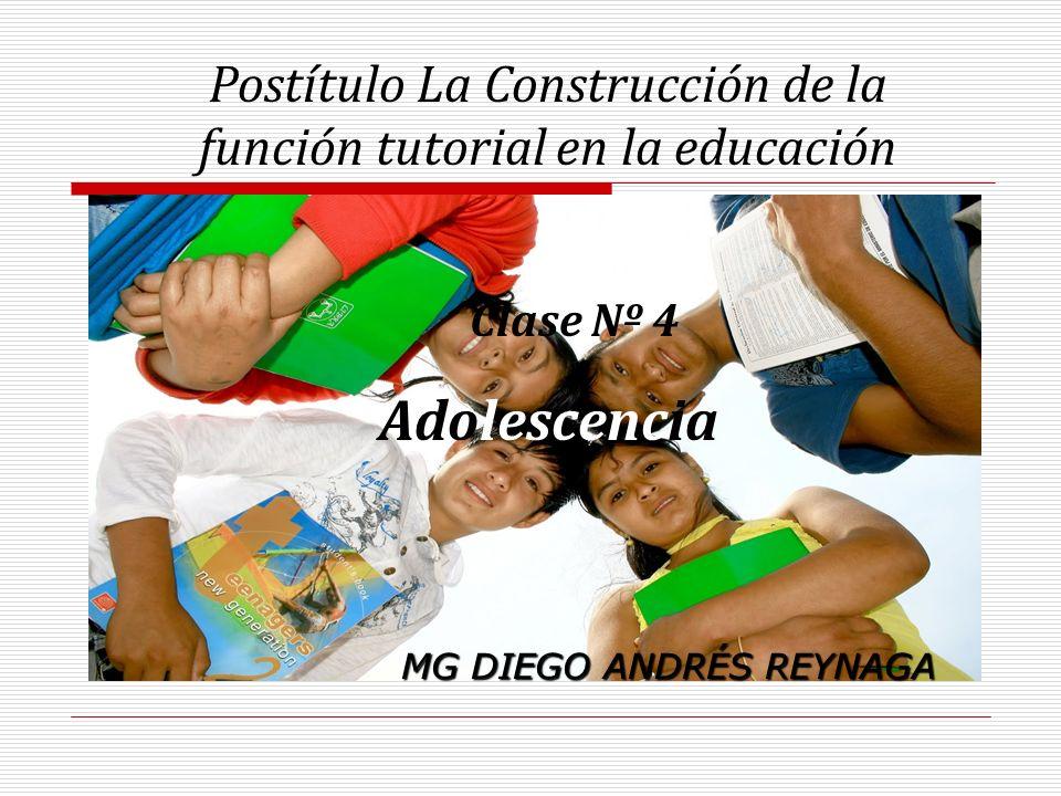 Postítulo La Construcción de la función tutorial en la educación Clase Nº 4 Adolescencia MG DIEGO ANDRÉS REYNAGA