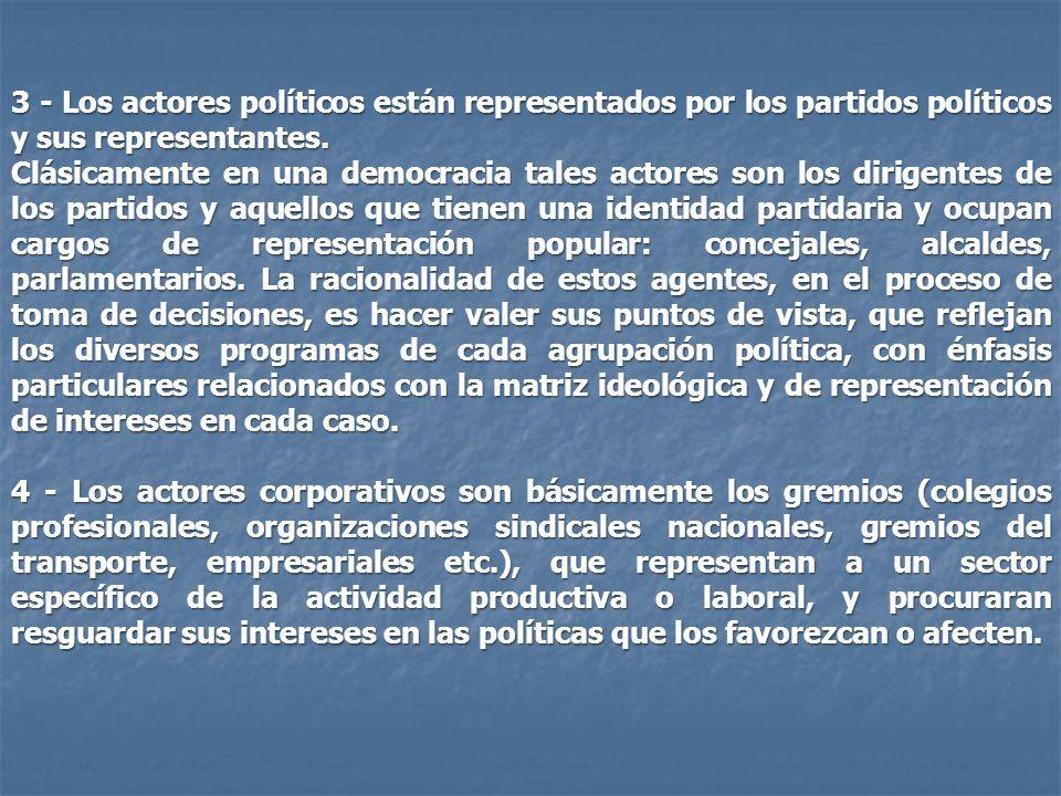 3 - Los actores políticos están representados por los partidos políticos y sus representantes. Clásicamente en una democracia tales actores son los di