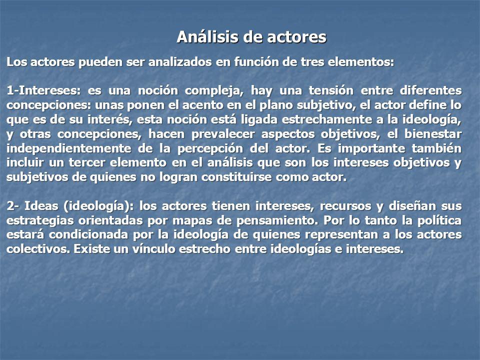 Análisis de actores Los actores pueden ser analizados en función de tres elementos: 1-Intereses: es una noción compleja, hay una tensión entre diferen