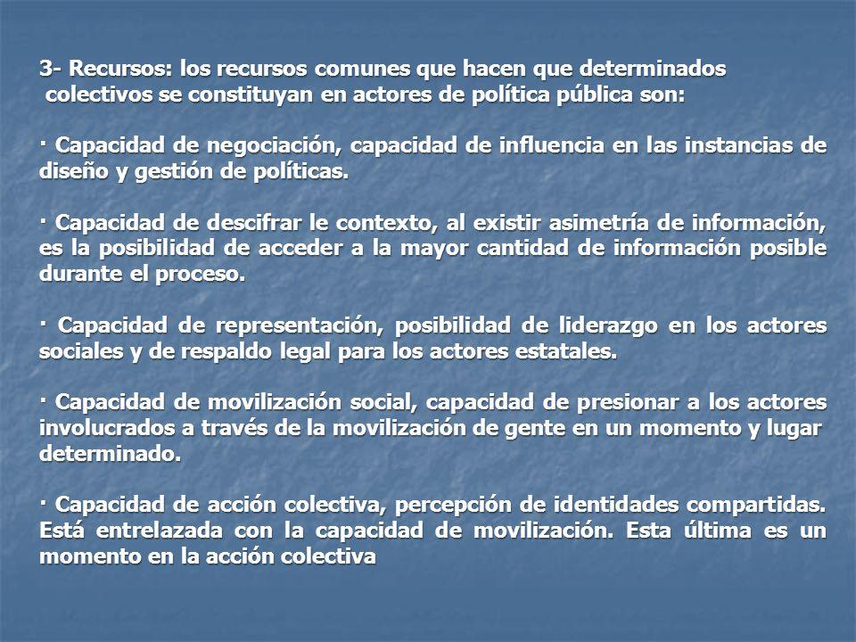 3- Recursos: los recursos comunes que hacen que determinados colectivos se constituyan en actores de política pública son: colectivos se constituyan e