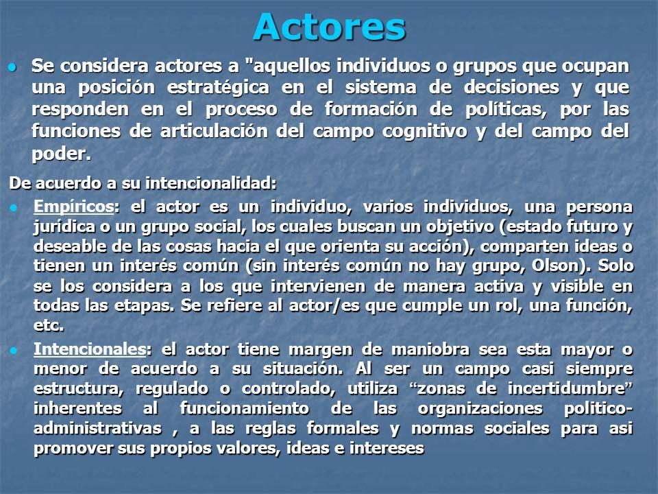Tipos de actores seg ú n el espacio donde intervienen P ú blicos: P ú blicos: Pol í tico-administrativos (con estatutos), son los que gestionan o representan la cosa p ú blica.