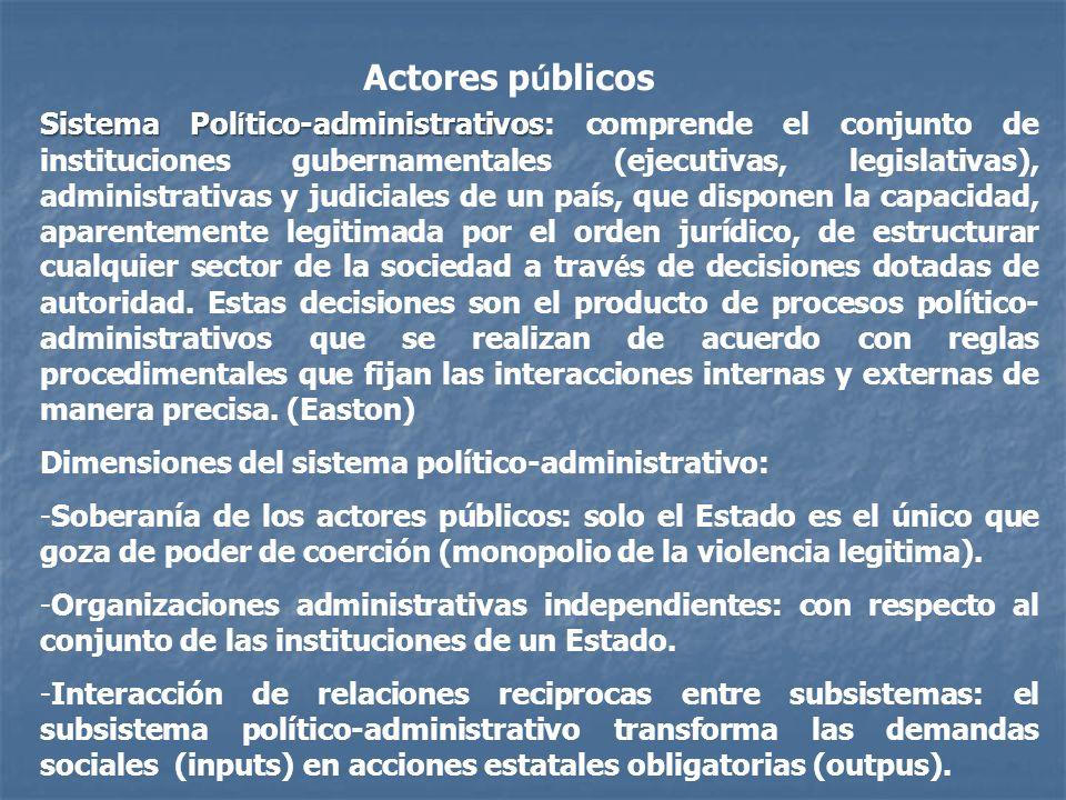 Actores p ú blicos Sistema Pol í tico-administrativos Sistema Pol í tico-administrativos: comprende el conjunto de instituciones gubernamentales (ejec