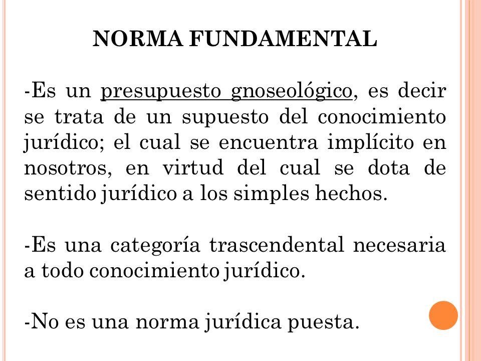 NORMA FUNDAMENTAL -Es un presupuesto gnoseológico, es decir se trata de un supuesto del conocimiento jurídico; el cual se encuentra implícito en nosot