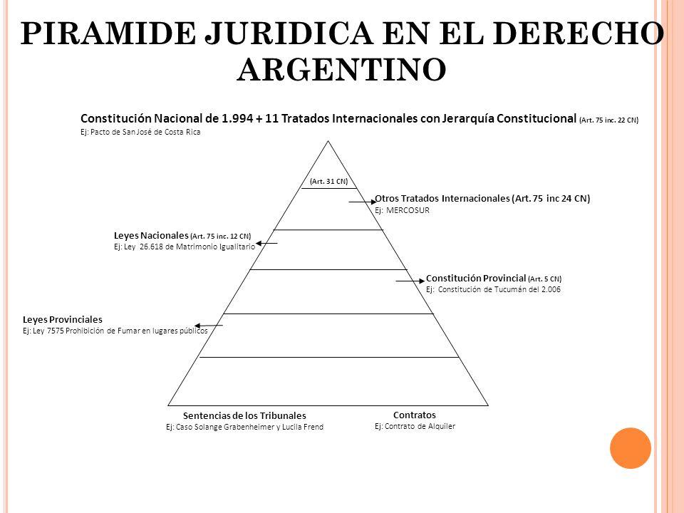 Constitución Nacional de 1.994 + 11 Tratados Internacionales con Jerarquía Constitucional (Art. 75 inc. 22 CN) Ej: Pacto de San José de Costa Rica (Ar