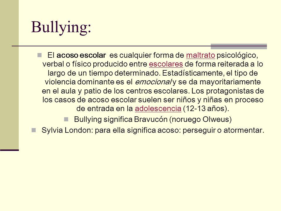 No todo acto de violencia es bullying Para hablar de bullying debe existir: - Un alumno o varios que ejercen el poder sobre otro.