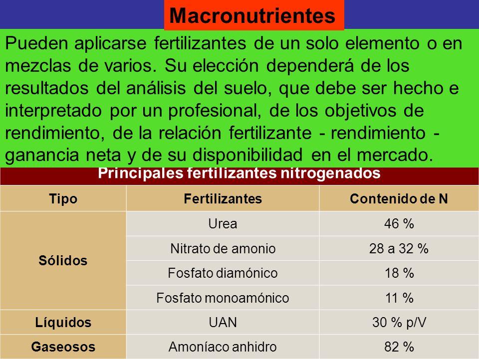 Principales fertilizantes nitrogenados TipoFertilizantesContenido de N Sólidos Urea46 % Nitrato de amonio28 a 32 % Fosfato diamónico18 % Fosfato monoa