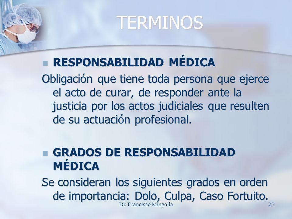 TERMINOS TERMINOS RESPONSABILIDAD MÉDICA RESPONSABILIDAD MÉDICA Obligación que tiene toda persona que ejerce el acto de curar, de responder ante la ju