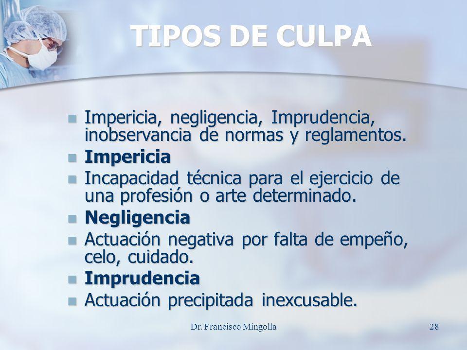 TIPOS DE CULPA Impericia, negligencia, Imprudencia, inobservancia de normas y reglamentos. Impericia, negligencia, Imprudencia, inobservancia de norma