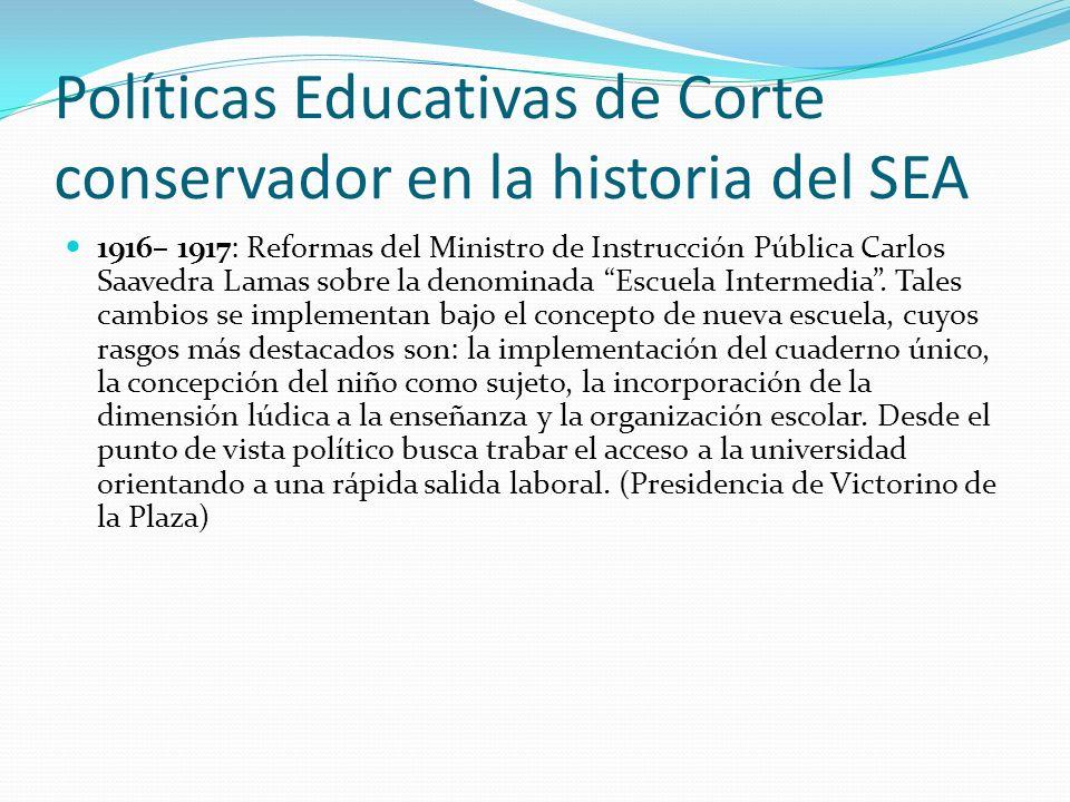 Políticas Educativas de Corte conservador en la historia del SEA 1916– 1917: Reformas del Ministro de Instrucción Pública Carlos Saavedra Lamas sobre