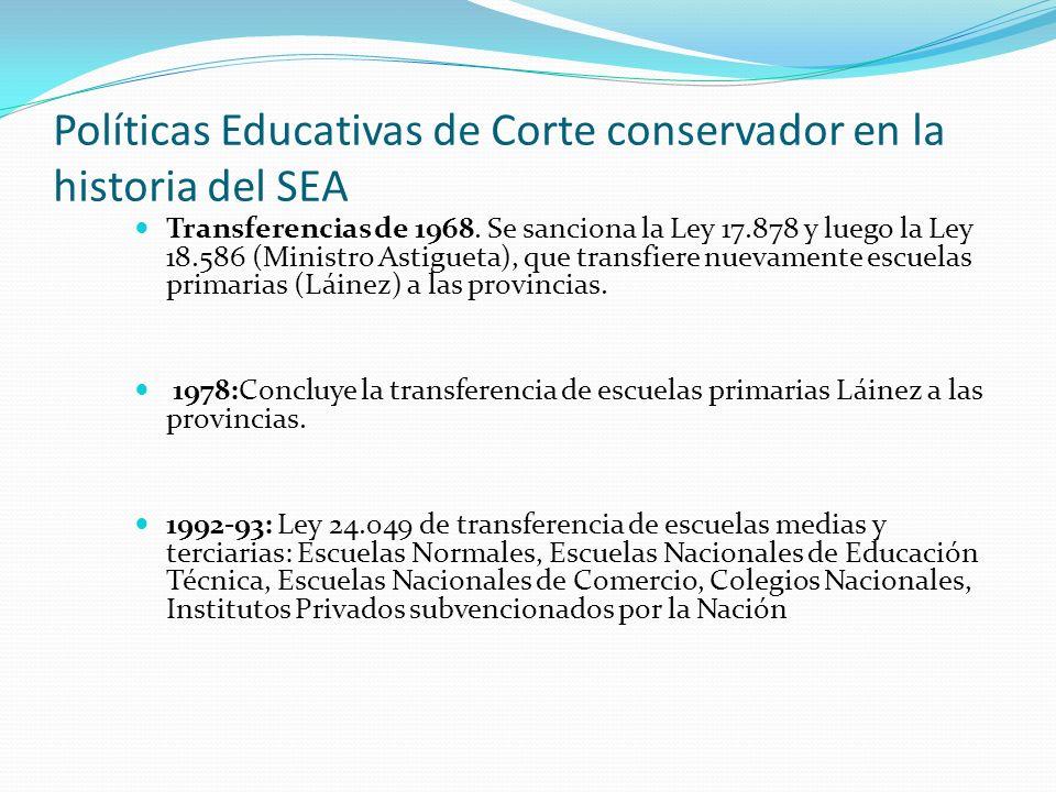 Políticas Educativas de Corte conservador en la historia del SEA Transferencias de 1968.