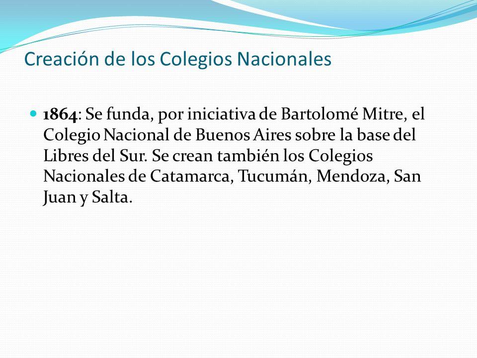 Creación de los Colegios Nacionales 1864: Se funda, por iniciativa de Bartolomé Mitre, el Colegio Nacional de Buenos Aires sobre la base del Libres de