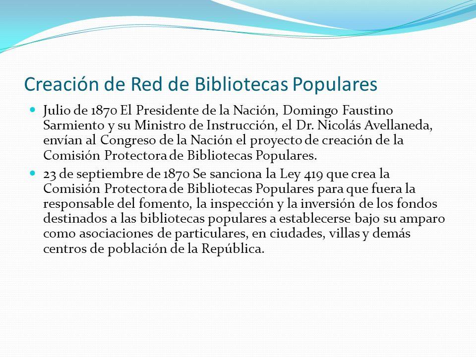 Creación de Red de Bibliotecas Populares Julio de 1870 El Presidente de la Nación, Domingo Faustino Sarmiento y su Ministro de Instrucción, el Dr. Nic