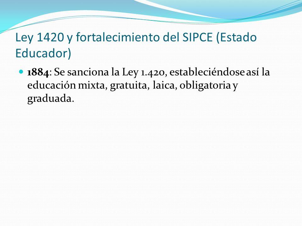 Ley 1420 y fortalecimiento del SIPCE (Estado Educador) 1884: Se sanciona la Ley 1.420, estableciéndose así la educación mixta, gratuita, laica, obligatoria y graduada.