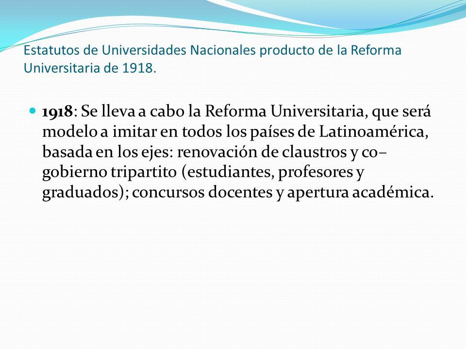 Estatutos de Universidades Nacionales producto de la Reforma Universitaria de 1918. 1918: Se lleva a cabo la Reforma Universitaria, que será modelo a