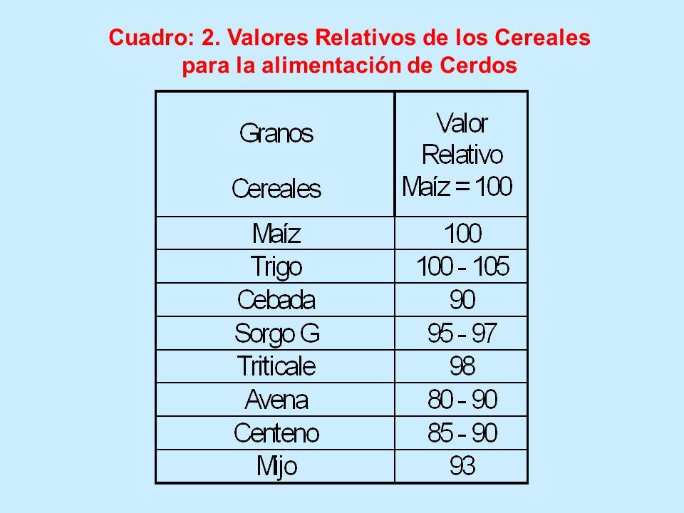 Cuadro: 2. Valores Relativos de los Cereales para la alimentación de Cerdos
