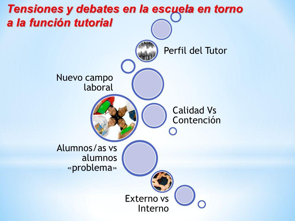Nuevo campo laboral Calidad Vs Contención Perfil del Tutor Alumnos/as vs alumnos «problema» Externo vs Interno Tensiones y debates en la escuela en to