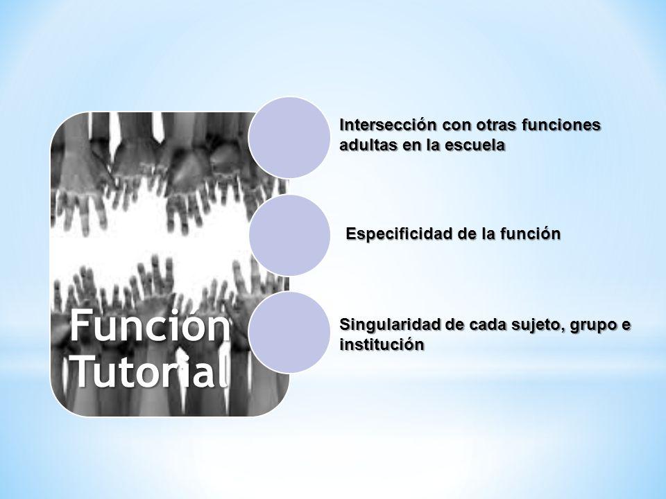Función Tutorial Intersección con otras funciones adultas en la escuela Singularidad de cada sujeto, grupo e institución Especificidad de la función
