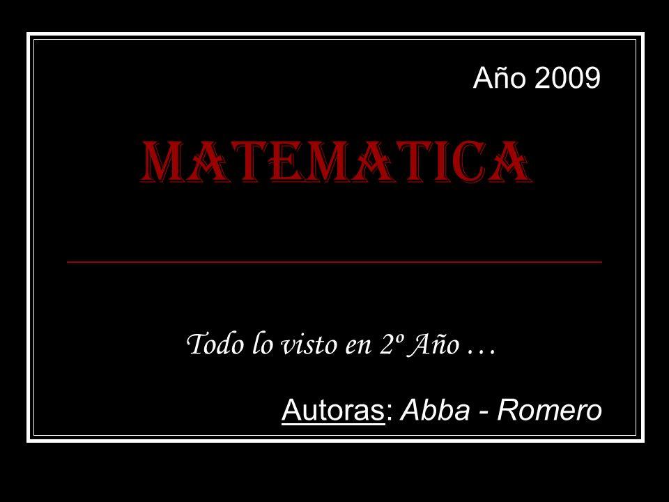 MATEMATICA Todo lo visto en 2º Año … Autoras: Abba - Romero Año 2009