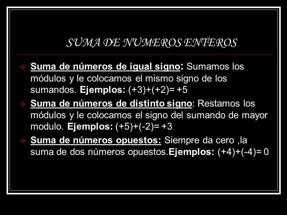 SUMA DE NUMEROS ENTEROS Suma de números de igual signo : Sumamos los módulos y le colocamos el mismo signo de los sumandos. Ejemplos: (+3)+(+2)= +5 Su