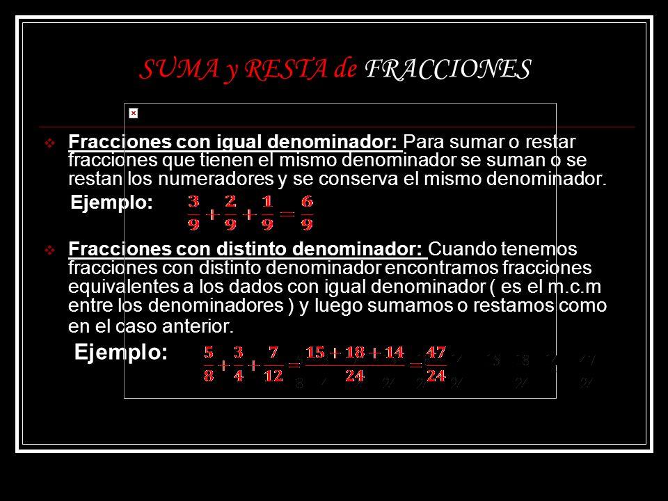 SUMA y RESTA de FRACCIONES Fracciones con igual denominador: Para sumar o restar fracciones que tienen el mismo denominador se suman o se restan los n