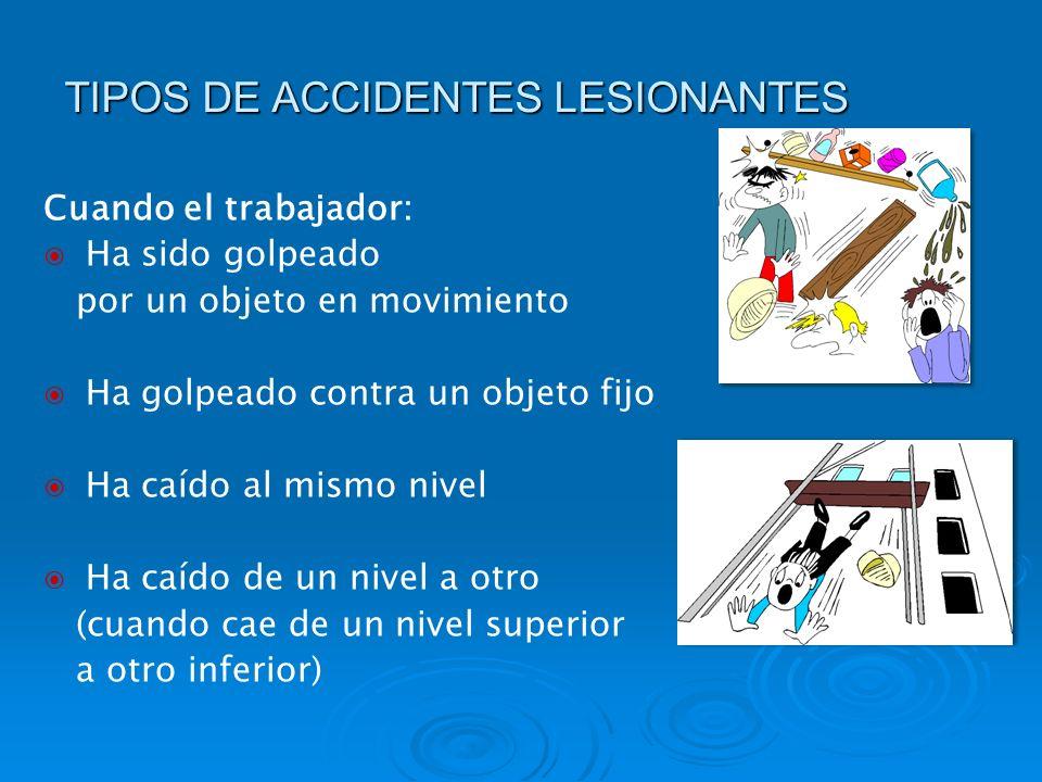 TIPOS DE ACCIDENTES LESIONANTES Cuando el trabajador: Ha sido golpeado por un objeto en movimiento Ha golpeado contra un objeto fijo Ha caído al mismo