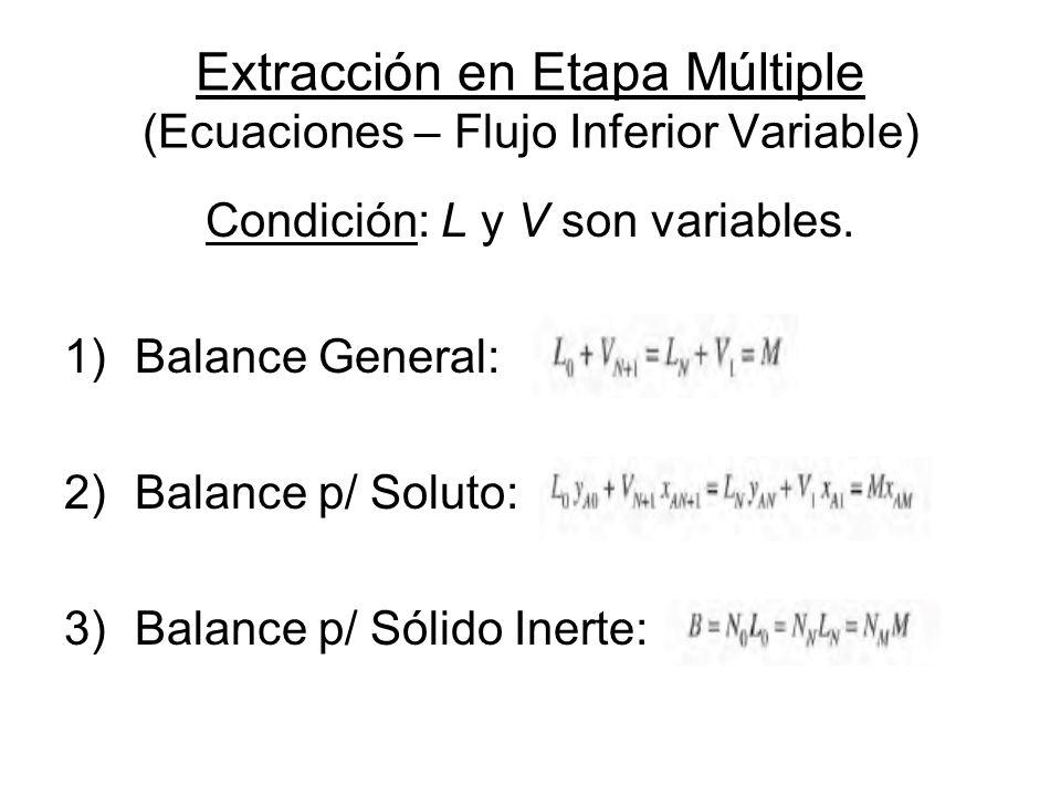 Extracción en Etapa Múltiple (Ecuaciones – Flujo Inferior Variable) Condición: L y V son variables. 1)Balance General: 2)Balance p/ Soluto: 3)Balance