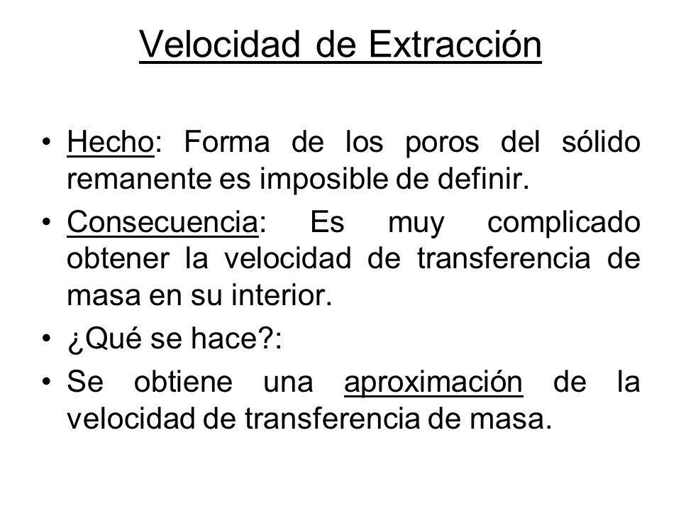 Velocidad de Extracción Hecho: Forma de los poros del sólido remanente es imposible de definir. Consecuencia: Es muy complicado obtener la velocidad d