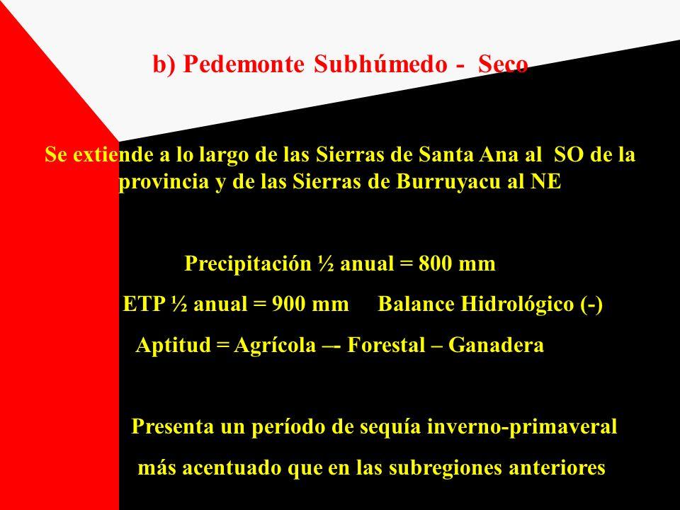 b) Pedemonte Subhúmedo - Seco Se extiende a lo largo de las Sierras de Santa Ana al SO de la provincia y de las Sierras de Burruyacu al NE Precipitaci