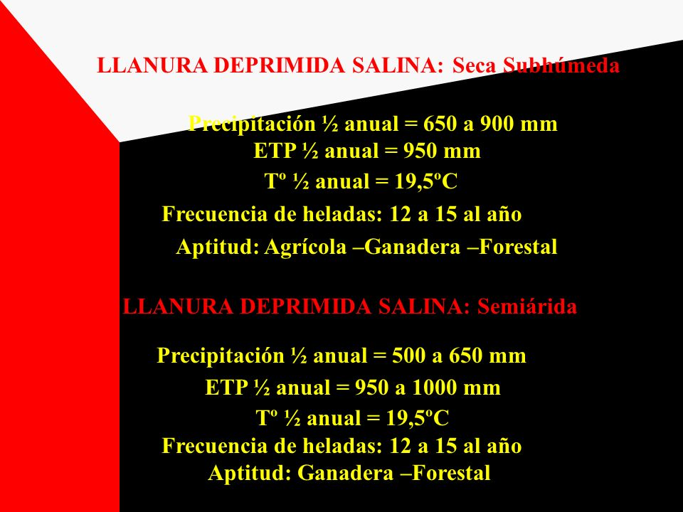 LLANURA DEPRIMIDA SALINA: Seca Subhúmeda Precipitación ½ anual = 650 a 900 mm ETP ½ anual = 950 mm Tº ½ anual = 19,5ºC Frecuencia de heladas: 12 a 15